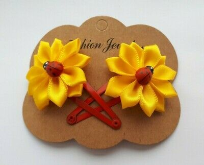 Pair of Ribbon flower Bow Snap Clips Hair Grips girls hair accessories lady bird