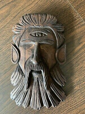 Antique Carved Wood Cyclops Head Beast Architectural Salvage Wall Hanging