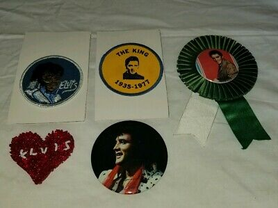 Vintage Elvis Presley The King Memorabilia Lot - Button Pinback, Patch & Ribbon