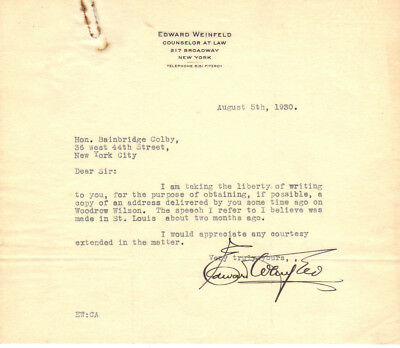 Edward Weinfeld Esq. (1 signed letter & carbon)   + GIFT