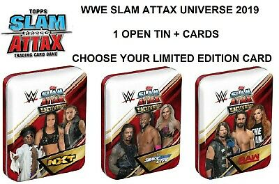 Wwe Slam Attax Universe 2019 Open Tin + 15 Cards (Includes Ltd & Champion) -Pick