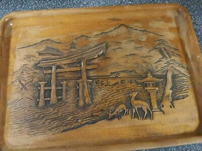 Japanese  Vintage Hand Carved Wood Tray Signed