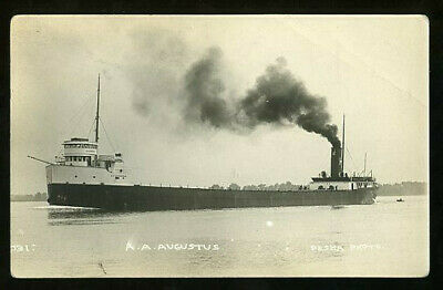 well-worn Pesha RPPC Great Lakes Freighter A.A.AUGUSTUS c.1920