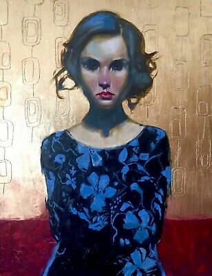 Mid Century Modern style Oil Painting On Board Surreal Portrait Gold leaf Art