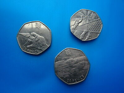 London 2012 Olympic 50p Coins - Swimming Archery - 3 British coins of Europe