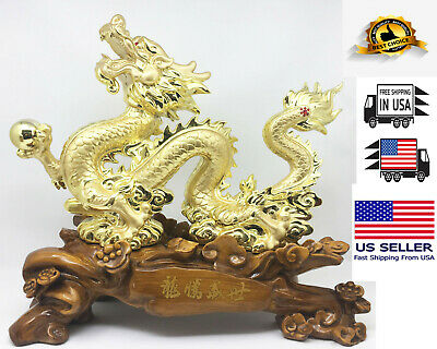 LARGE Feng Shui  DRAGON Art Sculpture, Gold plated for wealth and good luck