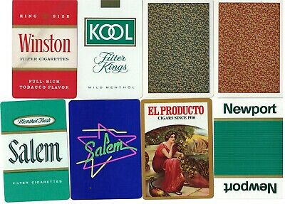 8 Single Swap Playing Cards CIGARETTE AND CIGAR ADS AND JOKERS VINTAGE