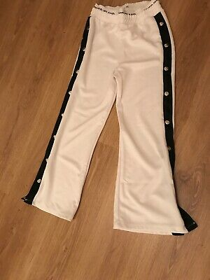 Girls River Island White Popper Trousers Age 9-10
