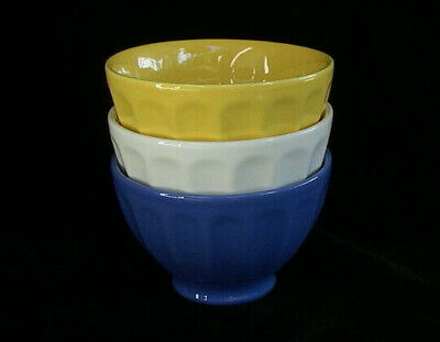French Bowl - Ribbed in Blue, Cream or Yellow
