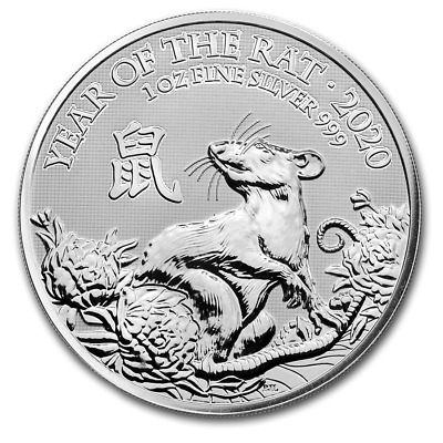 2020 Great Britain Year Of The Rat 1 oz Silver PRESALE Capsuled BU Bullion Coin