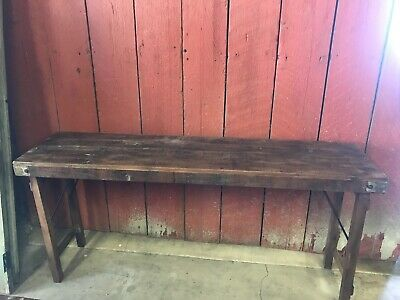 Architectural Salvage Solid Wood Antique Rustic Primitive Folding Table