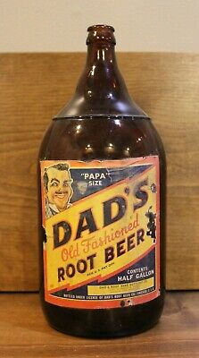 Soda Bottle Vintage Dad's Root Beer Papa Size Kansas City Mo Paper Label