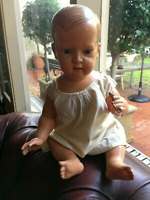 RARE Antique celluloid doll Turtle mark Schmidt Marke (?) Germany Glass eyes