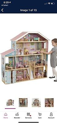 KidKraft 34 Piece Grand View Mansion Dollhouse in Pink and Natural