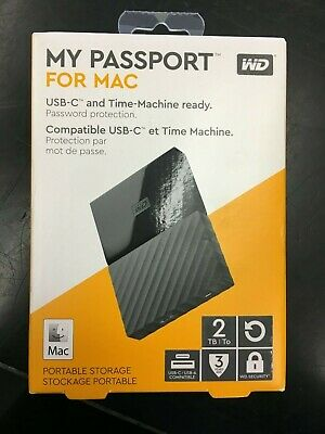 WD My Passport WDBLPG0020BBK 2TB for Mac Portable External Hard Drive NEW!