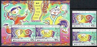 Christmas Island 1995.Year Of Pig. Mini Sheet & Set.x 2..Mnh.as Is See Scan