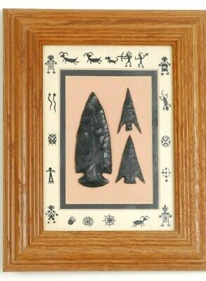 FRAME OF 3 Archaeological replicas Indian Artifacts, Arrowheads