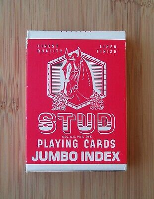 Sealed Vintage Stud Playing Cards Jumbo Index Red Linen Finish Walgreen Co.