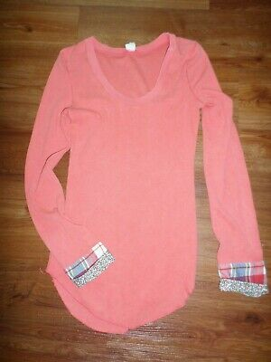 Free People Lou Flannel Plaid Button Cuff Waffle Knit Thermal Coral Orange LARGE