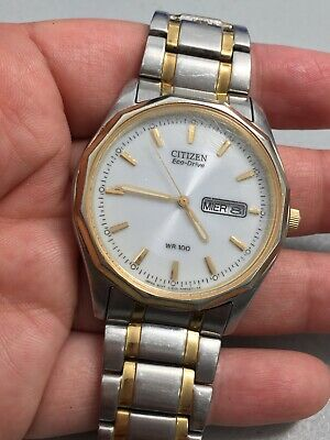 Citizen Eco-Drive WR-100 Date Day 35.6mm Men's Watch Runs