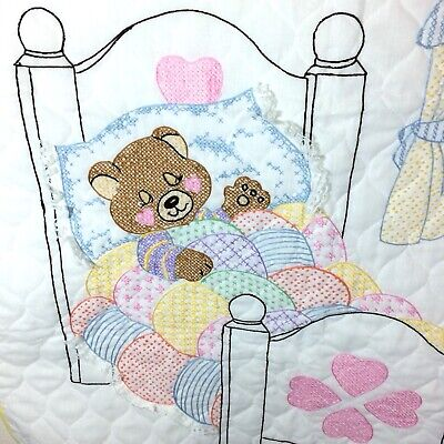 "Lightweight Baby Quilt 29""X41"" CRIB SIZE Hand Stitched Cross Stitch Embroidered"