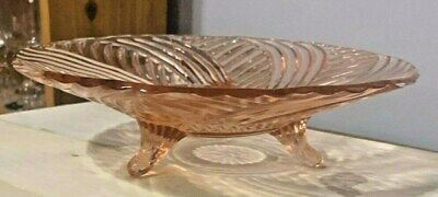Vintage Pink Depression Glass 3-Footed Swirl Serving Bowl Antique Fruit bowl