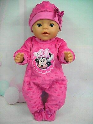 """Dolls clothes for 17"""" Baby Born doll~MINNIE MOUSE HOT PINK BOBBLE JUMPSUIT~ HAT"""