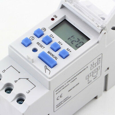 UK DIN Rail Digital LCD Power Programmable Timer Relay Switch AC 220-240V 16A V8