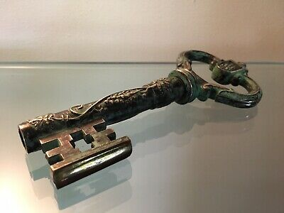 Vintage Zweibrucken Ornate Brass German Skeleton Key Cork Screw Wine Bottle