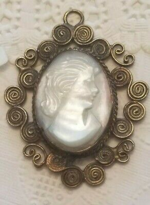 Vtg Cameo Antique White Carved Shell MOP Abalone Mother Pearl Necklace Pendant