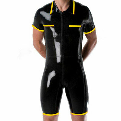 Latex 100% Gummi Rubber Sports Uniform Swimwear Bodysuit Catsuit 0.4mm S-XXL