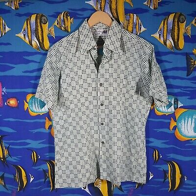 Vintage 90s Party Shirt Size XL Button Down Retro Patterned Checked Summer