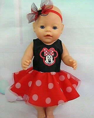 """Dolls clothes for17"""" Baby Born/CPK doll~MINNIE MOUSE~BLACK~RED~SPOTS PARTY DRESS"""