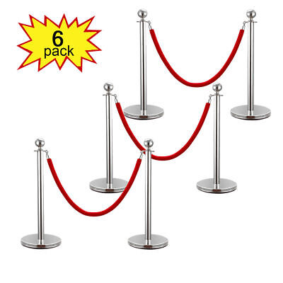 ROPE STANCHION,6 CROWN POSTS,SILVER POLISHED w/3 Rope