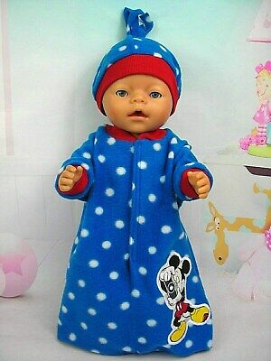 """Dolls clothes for 17"""" Baby Born doll~MICKEY MOUSE~BLUE/ SPOTTY SLEEPING BAG~HAT"""