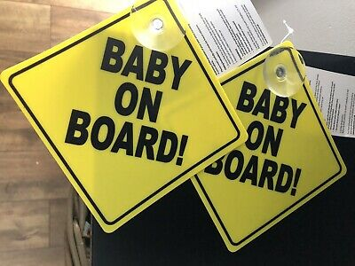 2x Yellow Brand New With Tags Baby On Board Car Signs