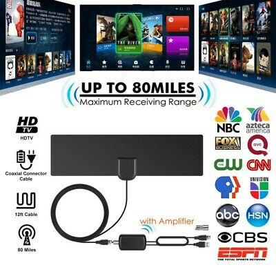 Amplified HD Digital TV Antenna 80 Miles Range 4K 1080P VHF UHF Local Channels