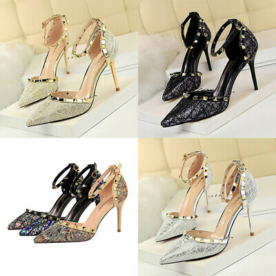 Womens Sexy High Heel Shoes Stiletto Pumps Pointed Toe Metal Rivet Night Club
