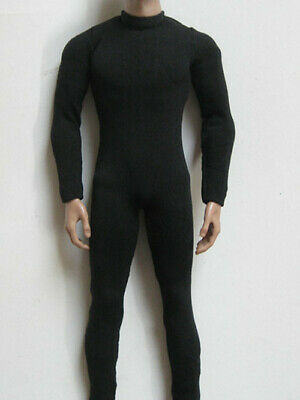 """1/6 Black Tights Elastic Slim Jump Suit For 12"""" HT SS DAM Muscular Figure Body"""