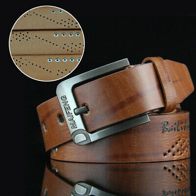 Men's Leather Belt Casual Pin Buckle Waist Belt Waistband For Trousers & Jeans