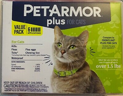 New Petarmor Plus For Cats 8 Weeks & Older Weighing Over 1.5 Lbs 6 Doses 6 Month