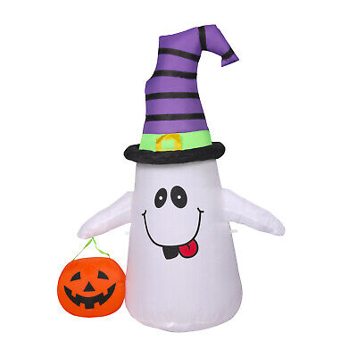 4ft Halloween Inflatable Blow Up Ghost with Pumpkin Outdoor Yard Decorations