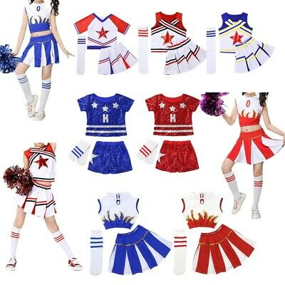 Kids Girls Cheerleader Costumes Outfit Crop Top with Skirt Dancewear School Show