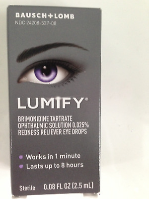 BAUSCH + LOMB LUMIFY EYE DROPS  SMALL 2.5ml 0.08fl.oz REDNESS RELIEF FAST POST