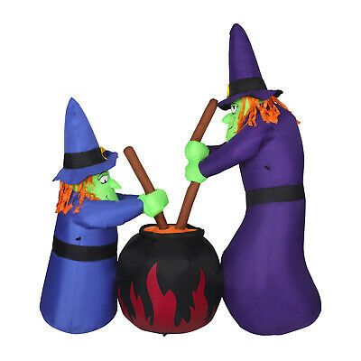 6' Lighted Inflatable Outdoor Halloween Yard Decoration Brewing Witches w/ Cauld