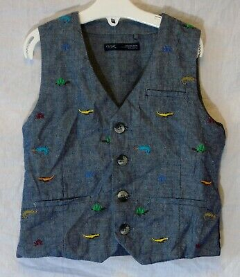Boys Next Blue Denim Look Embroidered Lizard Waistcoat Waistjacket Age 3-4 Years