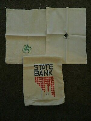 Vintage Calico Money  Bags -State Bank/Comm Bank/Reserve Bank  X 3