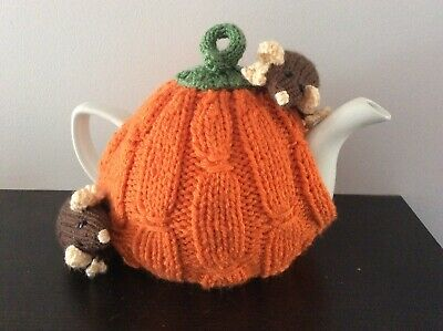Hand Knitted Tea Cosy  - Harvest pumpkin with Rats - fits 6 cup teapot