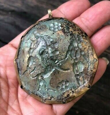 Ancient Pendant Roman Glass Hunting Horse Animal Lion Intaglio Cameo Jewelry Old