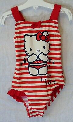 Girls George Red White Bow Hello Kitty Swim Suit Swimming Costume Age 2-3 Years